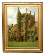 6084 Original 19th C. Framed Oil On Canvas Of Gothic Building Signed Perry