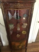 Curio Display Cabinet Antique Louis Xv Replica Hand Painted Lighted W/key.