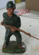 Vintage 1950 J H Miller Chalkware Wwii Soldier Charging With Plastic Rifle