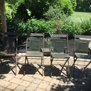 Set Of 8 Antique Maple City Stamping Co/ Viking Ind. Metal Folding Chairs Lpu