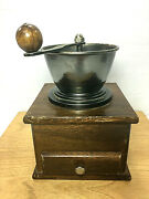 Vintage 70and039s Collectible Wooden Manual Coffee Bean Grinder Mill Large 7 Tall