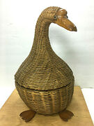 Vintage 80s Wicker Goose Basket Rattan Decorative Handcrafted Large 13 Tall