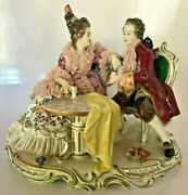 Germanvolkstedt Dresden Lace Porcelain Figural Tete A Tete Figural Grouping