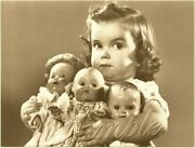 1950and039s Baby Boomer Antique Dolls Girl Child Photo Vintage Canvas Art Print