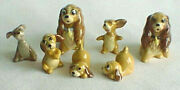 Lot 6 + 1 1950and039s Hagen-renaker Ceramic Mini Dogs Disney Lady And Tramp Puppies