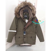 Abercrombie And Fitch Mens Ultra Parka Down Jacket Coat Olive Green Size Medium