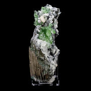 Multiple Deep Green Apophyllite Crystals With Calcite Cubes On Chalcedony - C11
