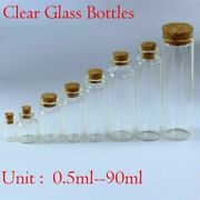 0.5ml90ml Clear Mini Small Cork Stopper Glass Vial Jars Containers Bottles