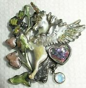 Vintage Rare Kirks Folly Winged Unicorn Playing With Bumblebee Brooch Pin