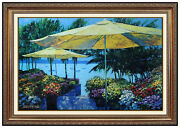 Howard Behrens Original Giclee On Canvas Flowers By The Sea Signed Artwork Italy