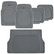 5pc Floor Liners Cargo Mat Deep Dish All Weather Hd Rubber Mats Package, Gray