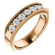G-h Si2-si3 Diamond Menand039s Wedding Band In 14k Rose Gold 7/8 Ct. Tw.