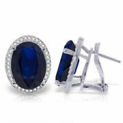 Genuine Sapphires And Diamonds French Clip Earrings 14k White Yellow Or Rose Gold