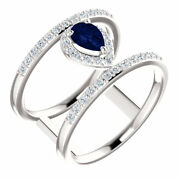 Chatham® Created Blue Sapphire And 1/3 Ctw Diamond Ring In Platinum