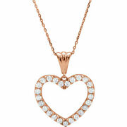 Diamond Heart 18 Necklace In 14k Rose Gold 1.00 Ct. Tw.