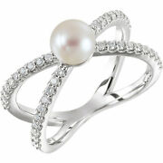 6.0-6.5 Mm Freshwater Cultured Pearl And 3/8 Ctw Diamond Ring In Platinum