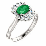 Chatham Created Emerald And 1/4ct Diamond Halo-style Ring In 14k White Gold