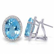 Genuine Blue Topaz Oval Gems And Diamonds French Clip Halo Earrings 14k Solid Gold