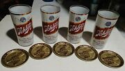 5 Vintage Schlitz Beer Metal Coasters And 4 Full Sided Glasses