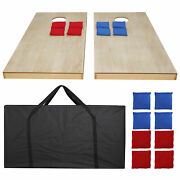 4x2and039 Unfinished Solid Wood Bean Bag Toss Cornhole Board Game Set Size Carry Bag