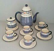 Vintage Hand Made Pottery Tea Set Hand Painted Made In Monte Verde. Sign .
