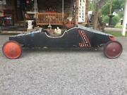 1940's Topsy's Cafe Soap Box Derby Car - 6'7 In Length - Oak And Aluminum