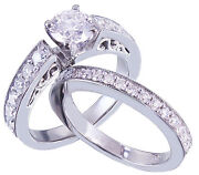 14k White Gold Round Cut Diamond Engagement Ring And Band Antique Deco 1.25ctw
