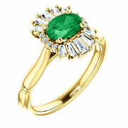 Genuine Emerald And 1/4 Ct Diamond Halo-style Ring In 14k Yellow Gold