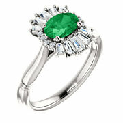 Genuine Emerald And 1/4 Ct Diamond Halo-style Ring In 14k White Gold