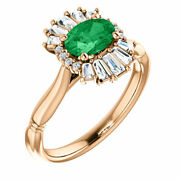 Genuine Emerald And 1/4 Ct Diamond Halo-style Ring In 14k Rose Gold