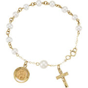 Freshwater Cultured First Communion With Pearl Rosary Bracelet In 14k Gold