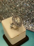 Vintage Sterling Silver 925 Diamond Ring With Pear Shape Green Amethyst Size 6.5