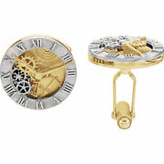 Clock Design Cuff Links-pair In 14k White And Yellow Gold