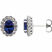 Chatham Created Blue Sapphire And 3/8 Ctw Diamond Earrings In Platinum