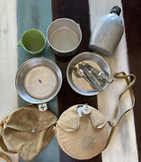 Vintage Boy Scouts Of America Mess Kit With Utensils And 2 Canteens Ships Free