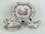 Wr And Co Ridgway Marmora Purple Transferware Sauce Tureen Gravy And Casserole Bowls