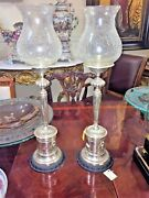 Pair Of Silver-plated And Glass Antique-style Candle Holders