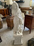 Four Seasons Hand Carved Marble Statue W/ Base