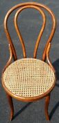 Antique Wooden Thonet Stamped Caned Chair