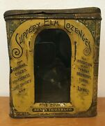 Antique Victorian Tin Canister Advertising Slippery Elm Lozenges Henry Thayer 5