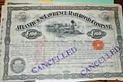S55vintage Stock Railroad-atlantic And St.lawrence Railroad W Coupons 1890maine