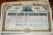 S132,vintage Stock Railroad,dubuque And Sioux City Rw 1886