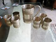 Antique Silver Plate Pitcher And Goblet Set