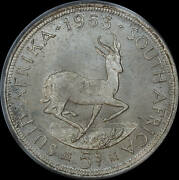 South Africa 1953 Silver Prooflike 5 Shillings Km52 Pcgs Pl65
