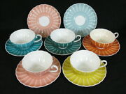 Susie Cooper Rare Vintage 5 Flat Tea Cups And 7 Saucers Multi Colors