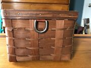 Longaberger Sort And Store Small Rectangle Storage Basket And Liner In Rich Brown