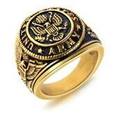 Solid Gold Men Ring Military Army Insignia Sm43