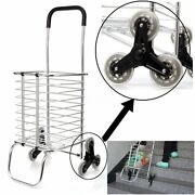 Folding Shopping Cart Jumbo Basket Grocery Laundry Travel With 6 Stair Wheels