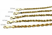 Authentic 14k Light Solid Yellow Gold Rope Chain Necklace Bracelet 2mm-5mm