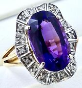 14k Two Tone Amethyst/diamond Ring_585 Yellow And White Gold